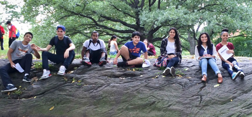Senior and freshman buddies bond during their first trip together this fall in Central Park. The program cultivates community by allowing seniors to mentor Frank McCourt's newest students.