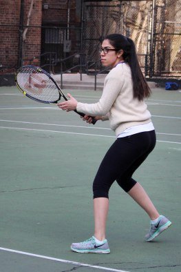 Photo: Awa Sow Team Captain Nadia Shadi, senior, plays in a match against The High School of Economics and Finance.